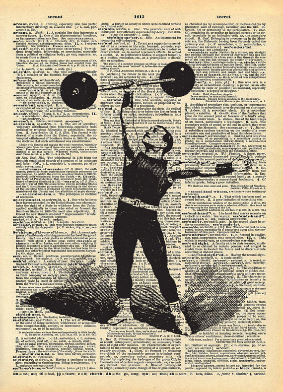 Man lifting barbell illustration over dictionary page.