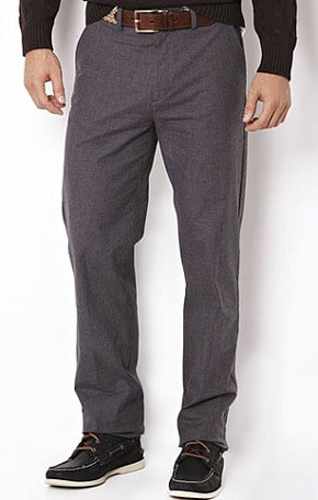 gray flannel pants with boat shoes
