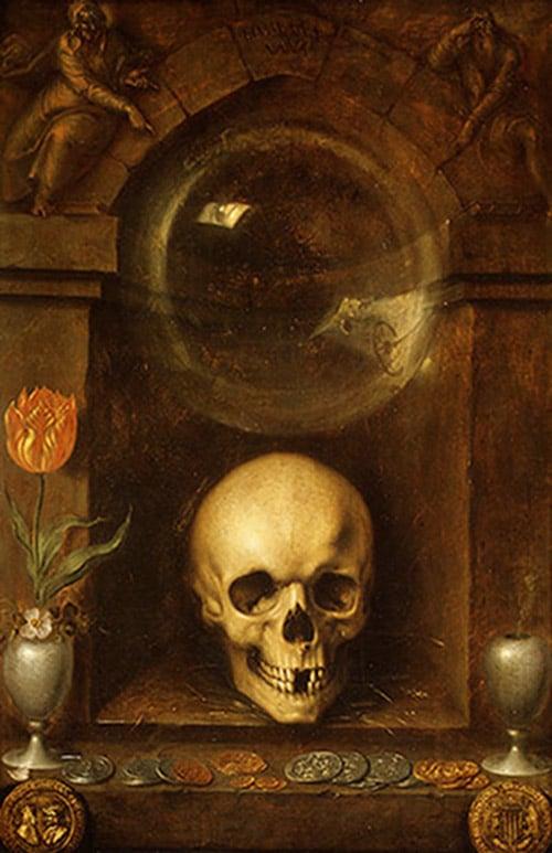 Vanitas still life by Jacques de Gheyn the Elder, 1603.