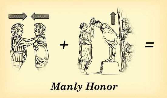 manly honor vertical horizontal roman soldiers illustration