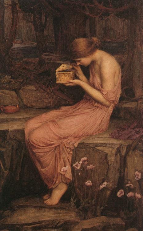 Greek myth pandora painting flowing pink robe.