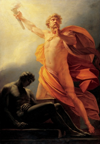 greek prometheus flowing robe sunlight shining