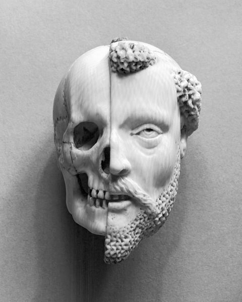 16th/17th century ivory pendant: Monk and Death