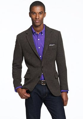 african american man black model wearing sports jacket purple shirt