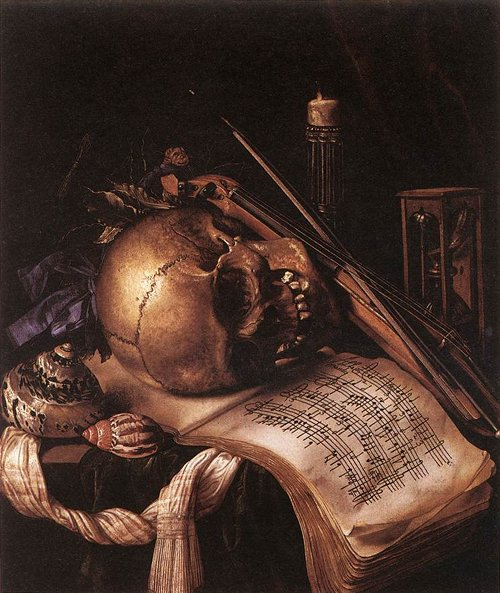 Vanitas Still Life by Simon Renard de Saint-André, middle of the 17th century.