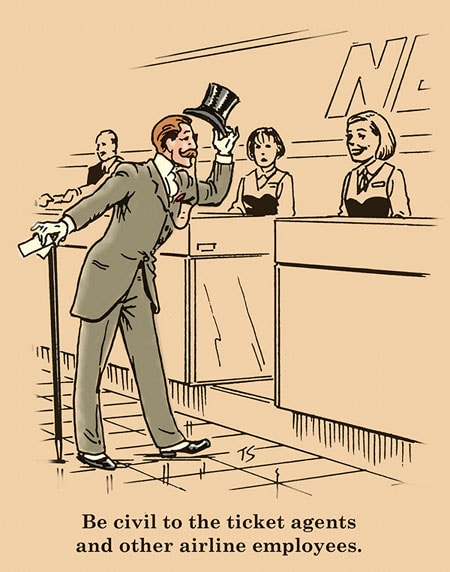 gentleman at airport desk suit top hat illustration