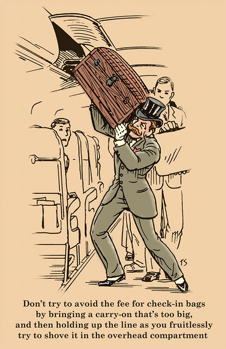 gentleman loading chest into airplane overhead bin illustration