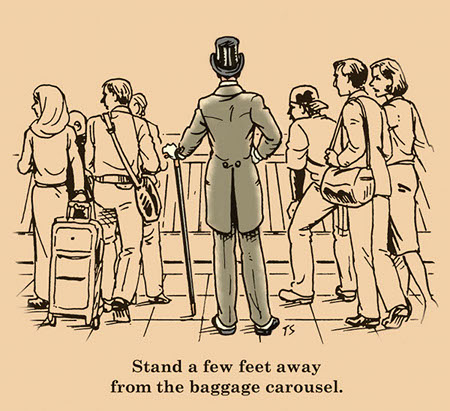 gentleman standing at baggage claim airport illustration