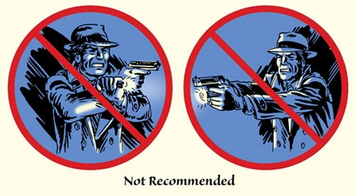 Detective man holding flashlight and gun tactics illustration.