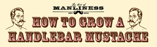 Grow a handlebar mustache illustration diagram.