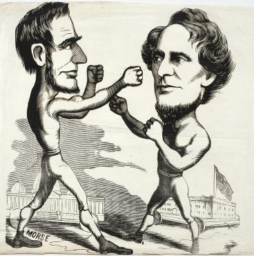 vintage political cartoon lincoln davis boxing