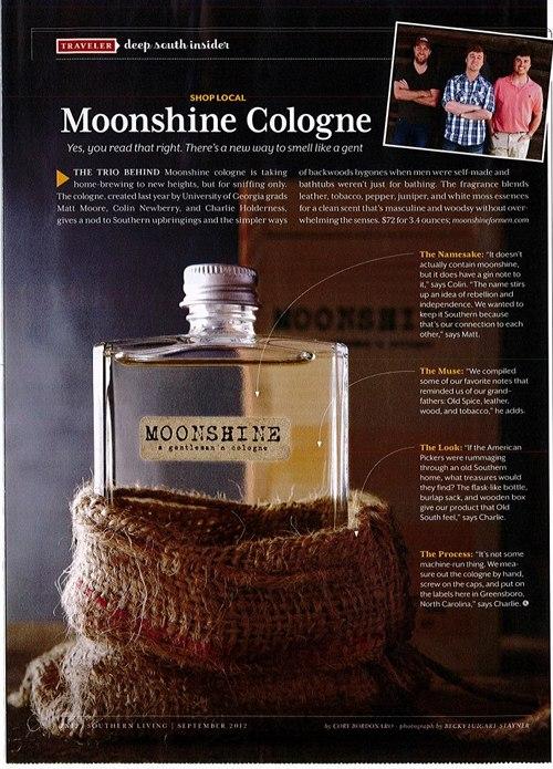 Poster add of moonshine men cologne.