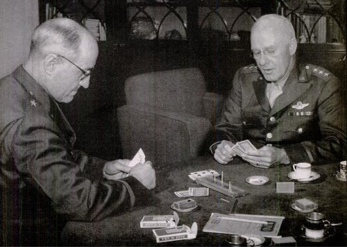 two military generals playing cribbage in uniform