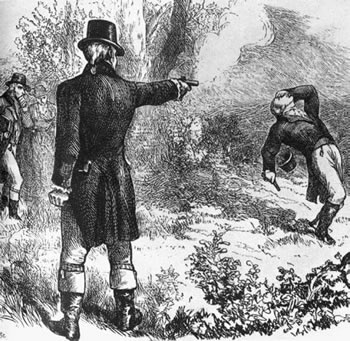 vintage drawing illustration 1800 men dueling guns