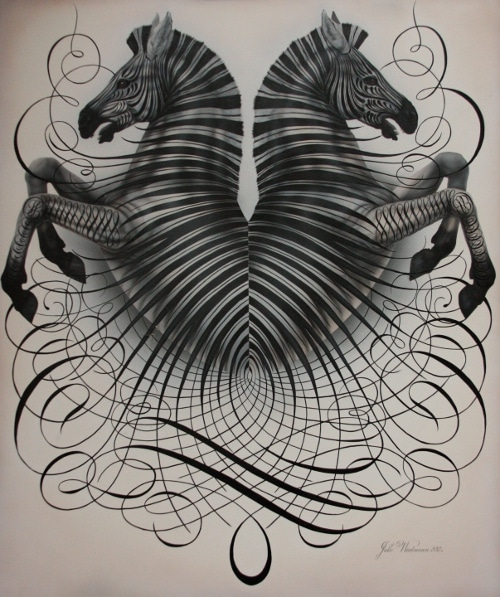Zebras artwork by Master Penman Jake Weidmann.