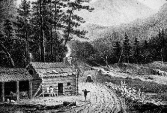 idyllic farm in mountain valley smoking chimney drawing