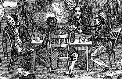 1800s men playing cards shooting each other drawing