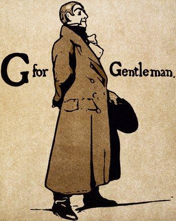 g for gentleman wearing long overcoat illustration