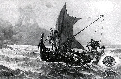 Homer's The Odyssey black & white drawing illustration.