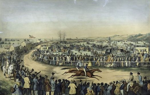 1800s horse race crowds standing along track painting
