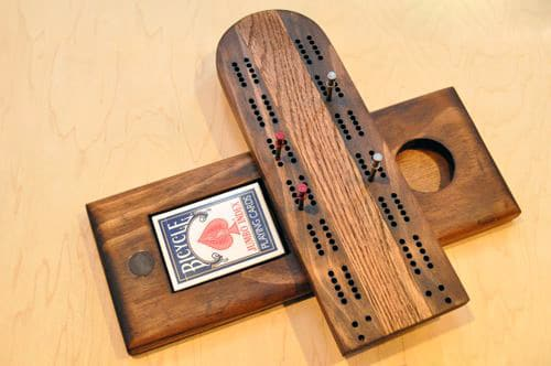 DIY homemade cribbage board swivel for cards pegs.