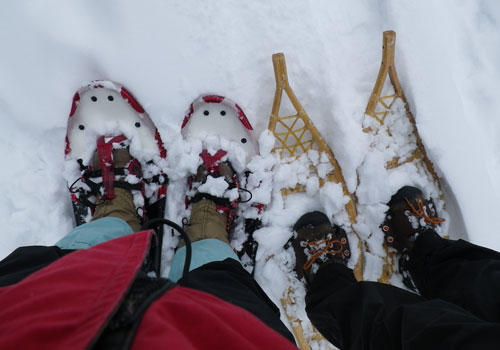 Modren and traditional snow shoes.
