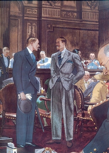 Vintage businessmen networking at restaurant in suits painting illustration.