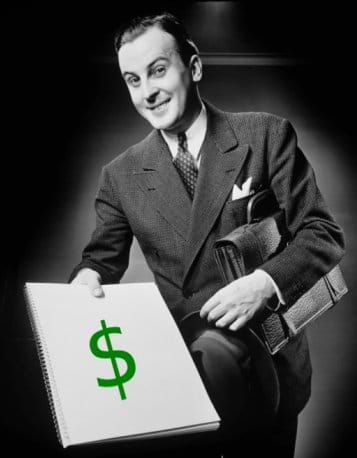 Smiling vintage businessman with briefcase and notebook with money sign.