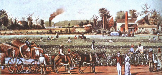 wealthy plantation horses carriage slaves working field painting