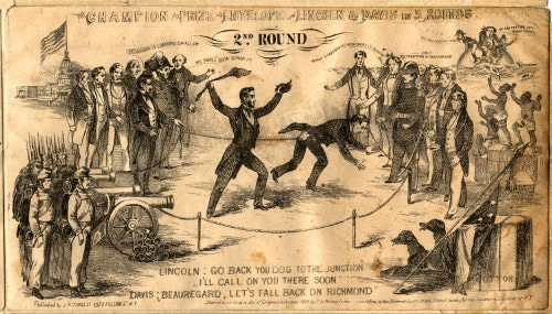 vintage political cartoon lincoln fighting davis