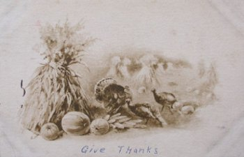 Vintage thanksgiving postcard Turkeys give thanks.