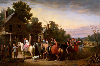 1800s wedding virginia men on horses painting