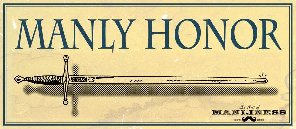 Manly honor horizontal long sword illustration.