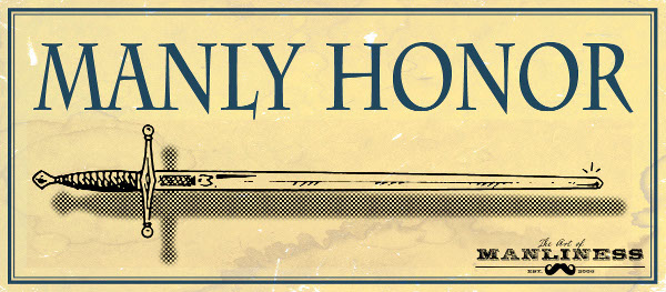 Illustration of sword title manly honor.
