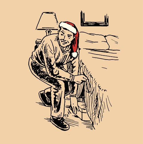 man in santa hat hiding presents under bed illustration