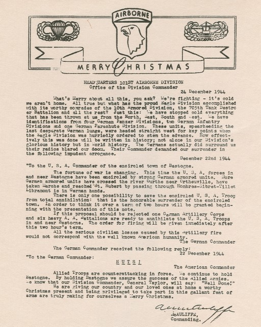 General Anthony McAuliffe, commander of the 101st airborne division, issued a flier.