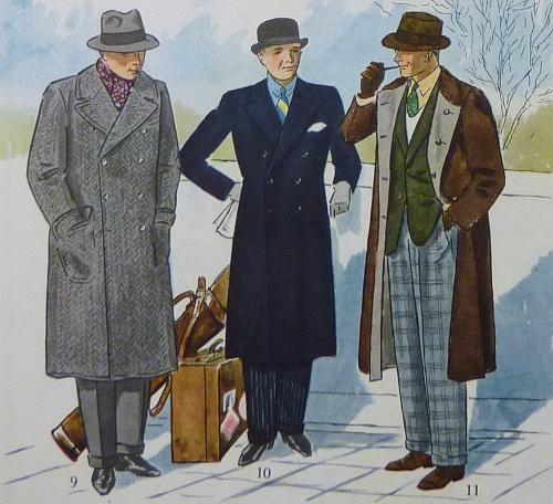 types of overcoats vintage advertisement illustration