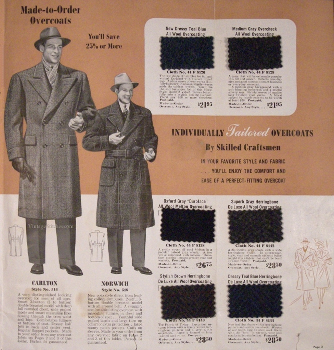 Vintage custom overcoat advertisement.