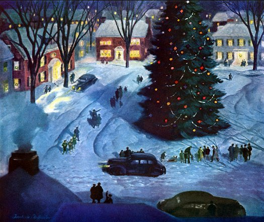 Vintage illustration showing town christmas eve with large christmas tree cars and people walking.