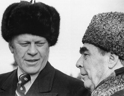 president gerald Ford and Brezhnev in ushanka trapper hats