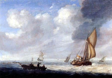 Painting of old sea battle ships in rough waters.