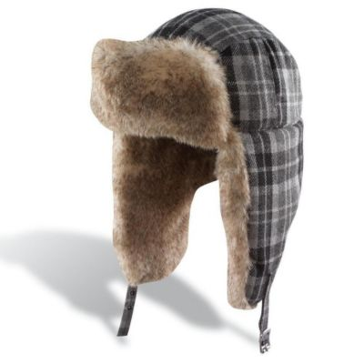 plaid pattern trapper hat with furry front and interior