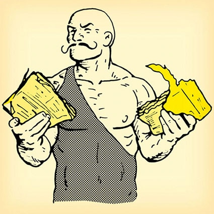 old time strongman holding ripped torn phone book illustration