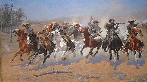 """Dash for Timber"" painting Frederic Remington old west art"