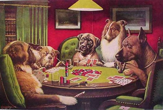 "dogs playing poker ""A Bold Bluff"" C.M. Coolidge painting"