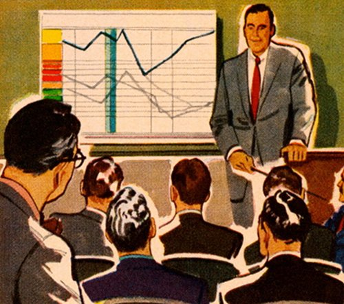 Business executive giving presentation with line graph illustration.