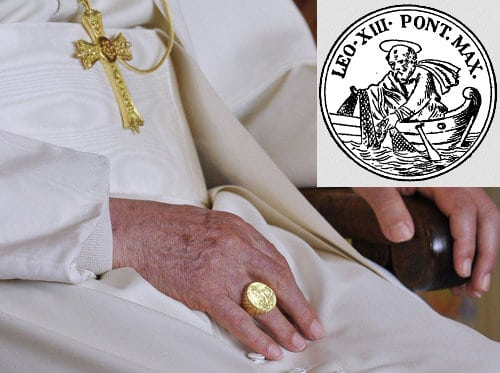 pope signet ring leo xiii man catching fish boat