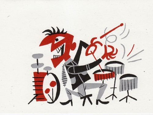 "This piece is from his Dig You Later series of illustrations created in 1955.  Each illustration features a ""dude"" who's having a ball while creating the coolest sounds around with the jazzy instrument of his own choosing."