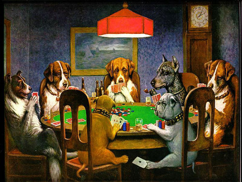 dogs playing poker a friend in need painting C.M. Coolidge