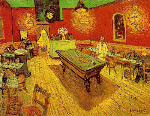 "Van Gogh's subject matter covered all bases, but one of my all-time favorites of his is ""The Night Cafe."" There are beautiful brush strokes and colors, but it's unmistakably masculine.  I despise the term ""man cave,"" but I can almost smell the whiskey and pipe tobacco when I look into this painting with its parlor of tables and billiard balls waiting for the ""break."""